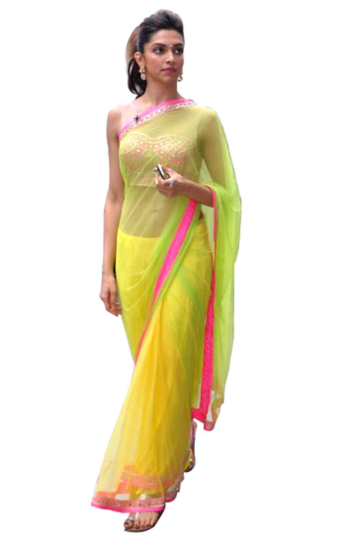 Buy Deepika Padukone Lime Yellow Bollywood Saree Online