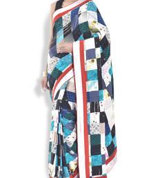 Buy multicolor printed satin saree With Blouse satin-saree online