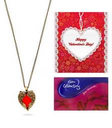 Valentine Heart Combo- Red Heart Necklace Greeting Card and Cadbury Celebrations Pack shop online