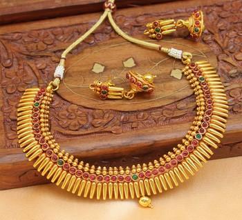 Beautiful Gheru Polish Antique Temple Necklace Set