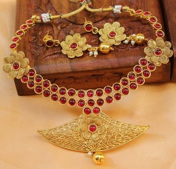 Pink Gold Plated Agate Necklace Sets