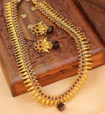 Purple Gold Plated Agate Necklace Sets