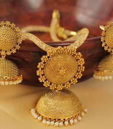 Buy Gold agate necklace set-DJ03676 necklace-set online