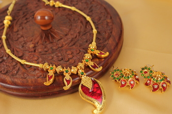 Beautiful Mango Kerala Design Necklace Set