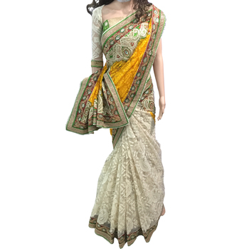Yellow embroidered faux net saree With Blouse