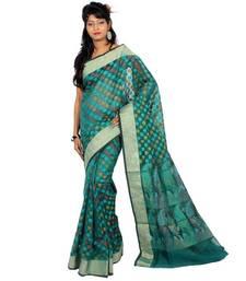 Buy Chanderi Silk Stripe banarasi fancy resham zari work saree cotton-saree online
