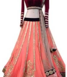 Buy Orange net Embroidered Lahenga Choli lehenga-choli online