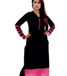 Buy Black  cotton plain unstitched kurti cotton-kurti online