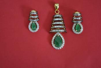 CZ pendant set with green onyx