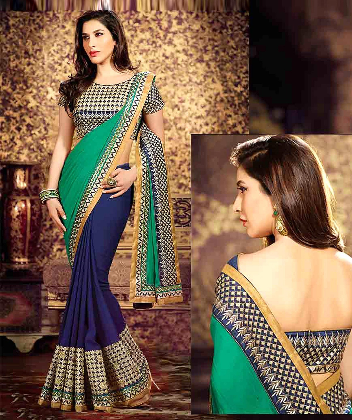 b2be4a45cb navy blue embroidered faux georgette saree With Blouse - V3 Designer -  1126871