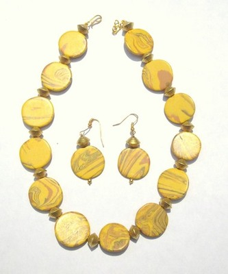 Yellow onyx beaded jewellery necklace sets