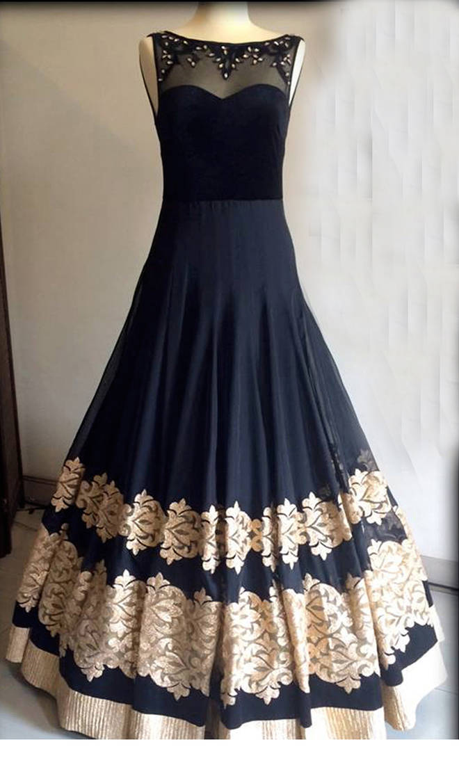 Buy black georgette embroidered semi stitiched party wear gowns Online