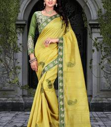 Buy Yellow embroidered  saree With Blouse women-ethnic-wear online