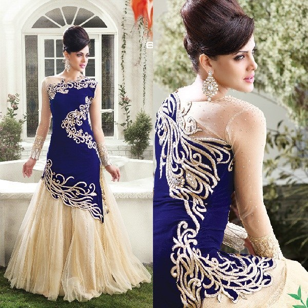 Buy Blue velvet embroidered semi stitiched party wear gown Online