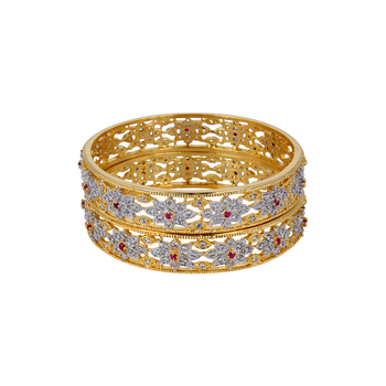 Gold Cubic Zirconia American Diamonds Bangles And Bracelets
