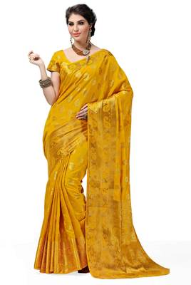 6be4103547693 dark yellow woven cotton silk saree With Blouse - Blueoceanfashions -  1130403