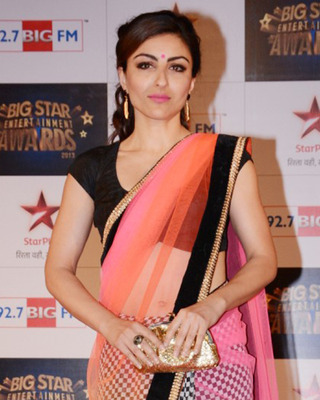e42236a6e2 Soha Ali Khan Bollywood replica three coloured net saree rcai - ADIVA -  133665
