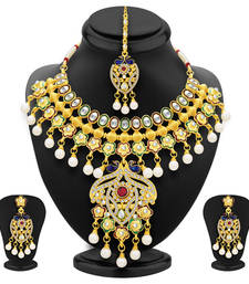 Buy Ritzy peacock gold plated kundan necklace set for women bridal-set online