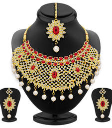 Buy Glistening gold plated ad necklace set for women necklace-set online