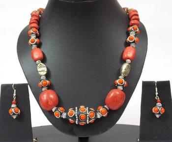 Silver And Orange Big Bead Necklace Set