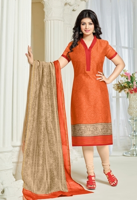 Orange printed cotton unstitched salwar with dupatta