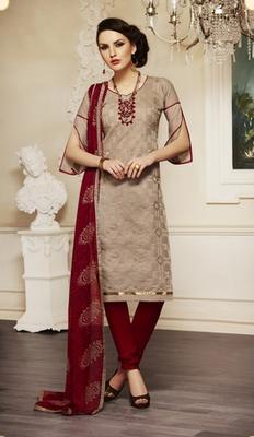 8183dc0578 Light brown embroidered chanderi unstitched salwar with dupatta ...