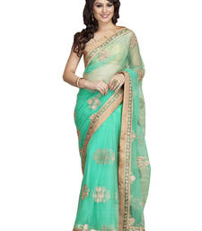Buy sea green embroidred net saree with blouse net-saree online