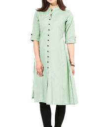 Buy Pista color cotton plain causal wear kurti cotton-kurti online