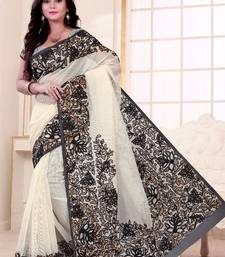 Buy Black printed cotton saree With Blouse supernet-saree online