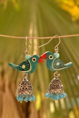 Pretty parrot jhumka earrings