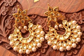 Kundan polki embellished earrings