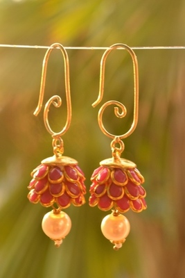 Pretty embellished jhumka earrings