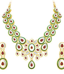 Buy Fabulous Gold Plated Kundan Necklace Set For Women eid-jewellery online
