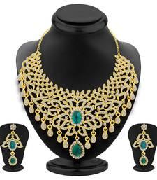 Buy Splendid Gold Plated AD Necklace Set For Women women-ethnic-wear online