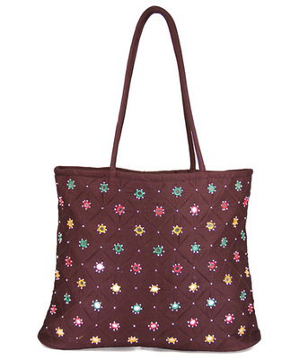 Womens Cottage Brown Cotton Full Patch Work Bag