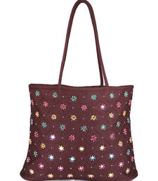 Buy Womens Cottage Brown cotton full patch work bag handbag online