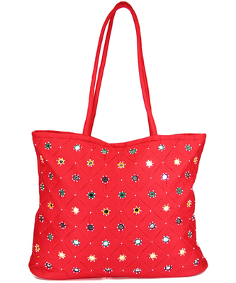 Womens Cottage Red Cotton Full Patch Work Bag