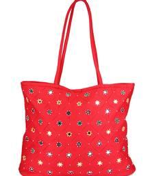 Buy Womens Cottage Red cotton full patch work bag handbag online