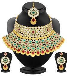 Creative Gold Plated AD Necklace Set For Women