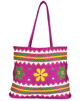 Womens Cottage Magenta Cotton Three Flowers Patch Work Bag