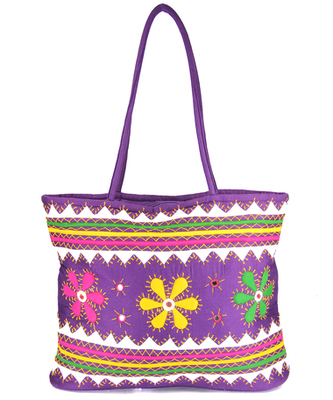 Womens Cottage Purple Cotton Three Flowers Patch Work Bag