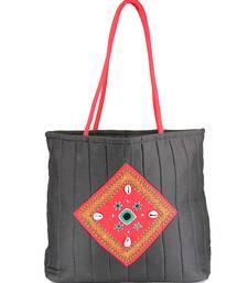 Womens Cottage black cotton kawadi patch work bag