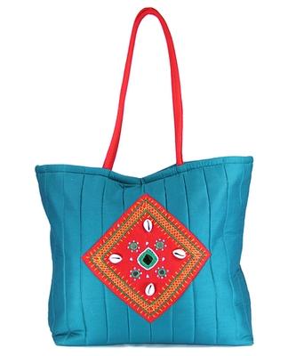 Womens Cottage Blue Cotton Kawadi Patch Work Bag
