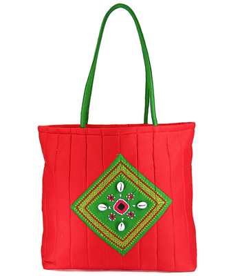 Womens Cottage Red Cotton Kawadi Patch Work Bag
