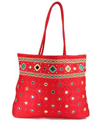 Womens Cottage Red Cotton Border Patch Work Bag