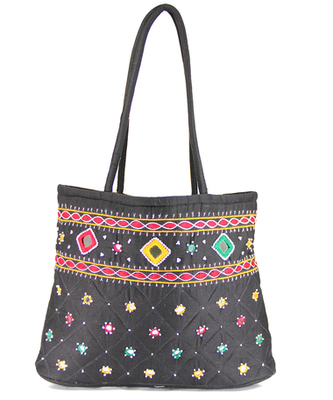 Womens Cottage Black Cotton Border Patch Work Small Bag