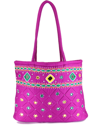 Womens Cottage Magenta Cotton Border Patch Work Small Bag