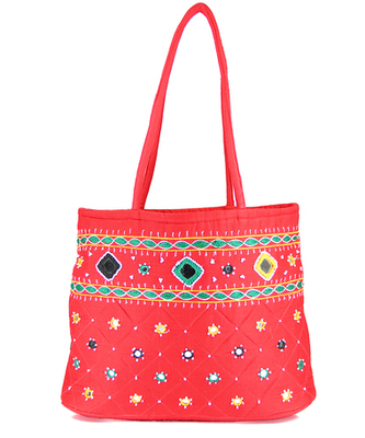 Womens Cottage Red Cotton Border Patch Work Small Bag