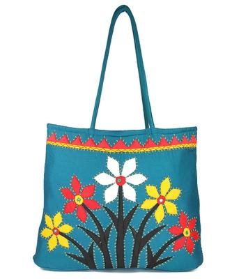 Womens Cottage Blue Cotton Flower Bunch Patch Work Bag