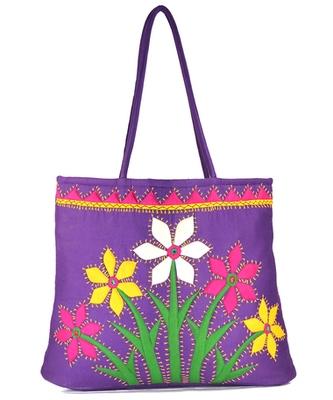 Womens Cottage Purple Cotton Flower Bunch Patch Work Bag